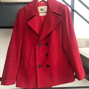 Burberry Cherry Red Wool Pea Coat